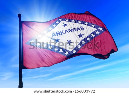 Arkansas flag waving on the wind - stock photo