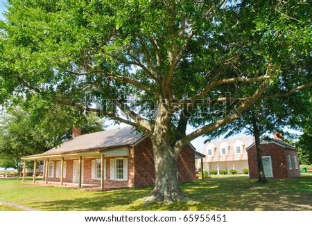 Arkansas Post National Memorial buildings - stock photo