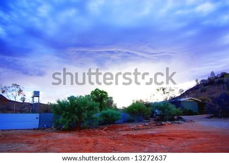 Arkaroola village in Outback Australia, under a rare desert stormy sky. - stock photo