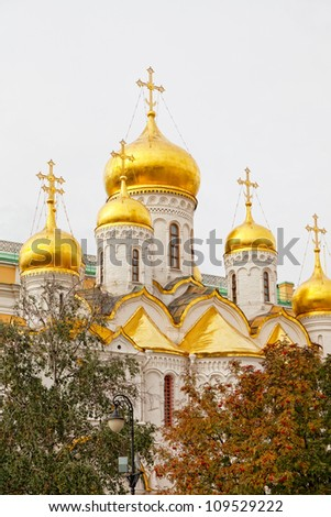 Arkhangelsk cathedral in Kremlin, Moscow, Russia - stock photo