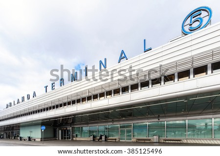 ARLANDA, SWEDEN - MARCH 2, 2016: Exterior with text sign of Arlanda Airport outside of Stockholm - stock photo