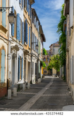 Arles street in the Provence region of France - stock photo