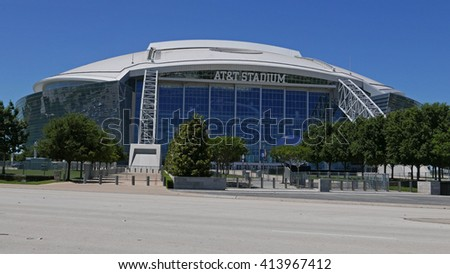 ARLINGTON - APRIL 25, 2016: The AT&T Stadium  in Arlington, Texas is home of the NFL Dallas Cowboys since 2009. Also used by college football teams and others for sporting and non-sporting events.