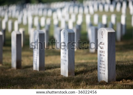 Arlington Cemetery in Washington DC (with the Memorial for J.F. Kennedy) - stock photo