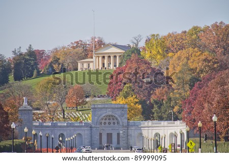 Arlington Cemetery Memorial Entrance and former home of Robert E. Lee Virginia ,at Fall - stock photo