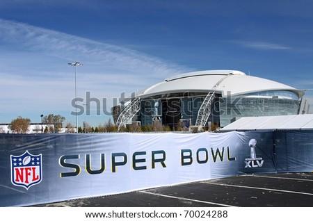 ARLINGTON - JAN 26: A view of Cowboys Stadium in Arlington, Texas and Super Bowl XLV sign. Taken January 26, 2011 in Arlington, TX. - stock photo
