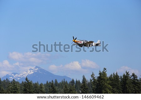 ARLINGTON -  JULY 13: A restored World War II P-51 B 10NA Mustang was seeing flying in the skies over Arlington Air Field on 13 July 2013  near Seattle, WA.
