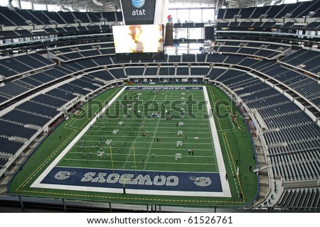 ARLINGTON - JUNE 17: Taken in Cowboys Stadium, Arlington, TX., on Thursday, June 17, 2010. An inside Cowboys Stadium and giant video monitor from endzone. Super Bowl XLV will played here in 2011. - stock photo