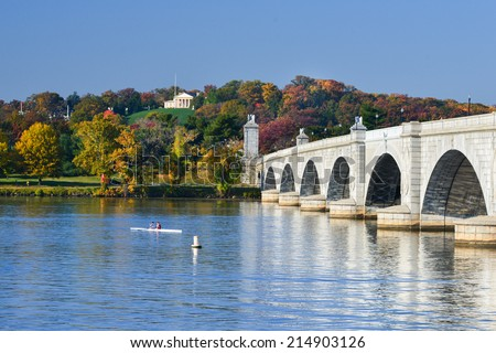 Arlington Memorial Bridge and National Cemetery in Autumn - Washington D.C. United States of America - stock photo