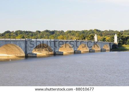Arlington Memorial Bridge looking towards Arlington National Cemetery - stock photo
