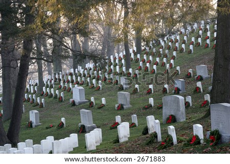 Arlington National Cemetery at Sunrise Decorated for Christmas - stock photo