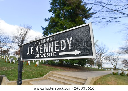 Arlington National Cemetery, President J.F. Kennedy Grave site signboard - Washington DC USA  - stock photo