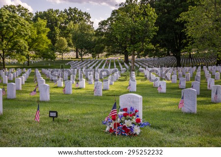 Arlington National Cemetery US National military cemetery located in Arlington, Virginia, across the Potomac river from Washington DC. Photograph shot on May 22, 2015