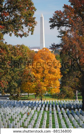 Arlington National Cemetery with Washington National Monument 2 - stock photo