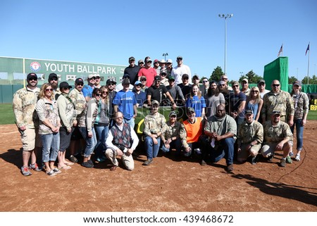 ARLINGTON, TX - APR 18: Participants at the ACM & Cabela's Great Outdoor Archery Event at the Texas Rangers Youth Ballpark on April 18, 2015. - stock photo