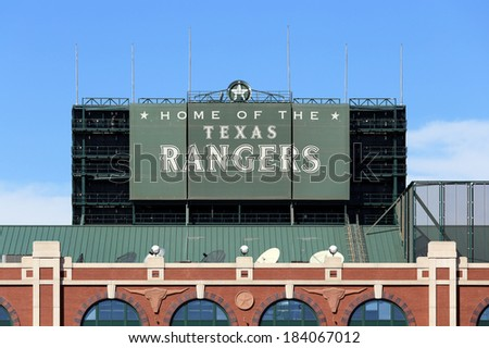 ARLINGTON, TX - MARCH 13: Globe Life Park in Arlington in Arlington, Texas on March 13, 2014. Formerly known as Rangers Ballpark in Arlington, the ballpark is home to The Texas Rangers baseball team. - stock photo