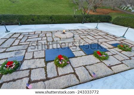ARLINGTON, VA - DECEMBER 26, 2014: President John Fitzgerald Kennedy Gravesite in Arlington National Cemetery.   - stock photo