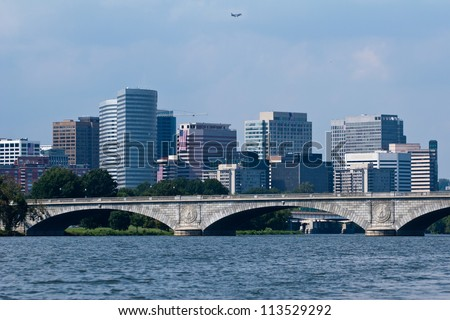 Arlington, Virgina photographed over the Francis Scott Key Bridge and Potomac River, located near Washington, D.C. - stock photo