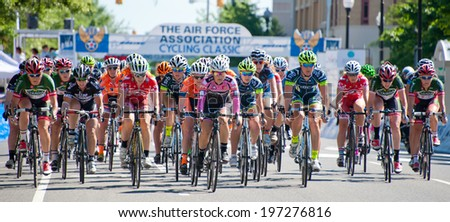 ARLINGTON, VIRGINIA - JUNE 7: Cyclists at the start of the Clarendon Cup elite women's race at the Air Force Cycling Classic on June 7, 2014 in Arlington, Virginia - stock photo