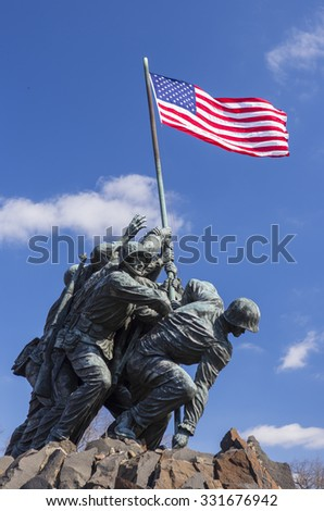 ARLINGTON, VIRGINIA, USA - MARCH 4, 2013:  Iwo Jima U.S. Marine Corps War Memorial in Rosslyn, a military memorial statue.