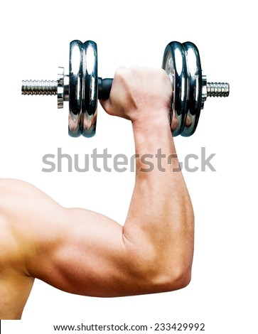Arm attractive athletic man with dumbbells  isolated on a white background - stock photo