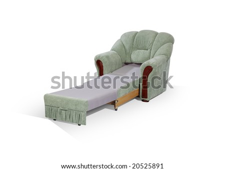 arm-chair, decomposed in one berth on a white background - stock photo