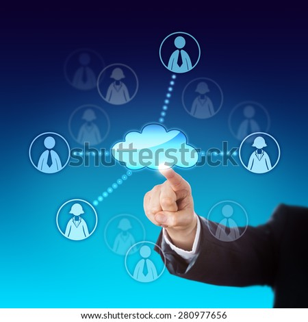 Arm in business suit contacting two male and two female office workers via the cloud. Metaphor for cloud sourcing, resource pooling, teamwork, human resources and gender equality at the work place. - stock photo