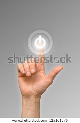 arm press on white button - stock photo