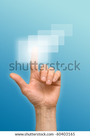 arm press the button, window - stock photo