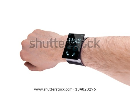 arm with a modern Internet Smartwatch, isolated on white  --  All Texts, Icons, Computer Interfaces where created from scratch by myself. - stock photo