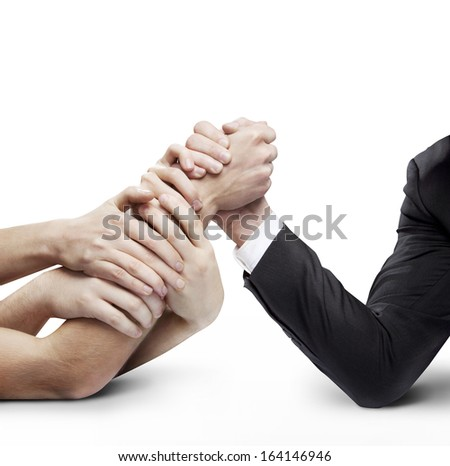 arm wrestling: businessman in opposition with many hands on white background