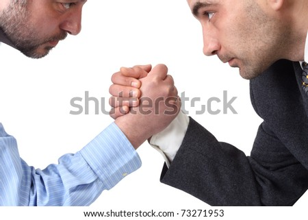 Arm wrestling in the office isolated on white background. - stock photo