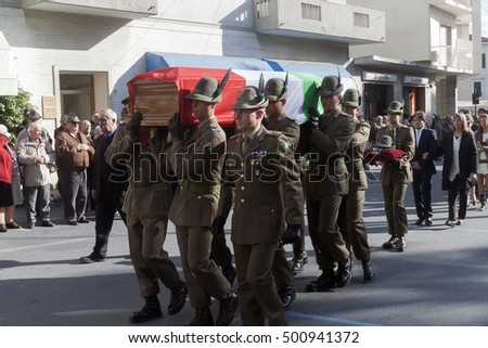 "Arma di Taggia Italy October 30, 2012: The funeral of Corporal ""Tiziano  Chierotti"" killed in action in Afghanistan."