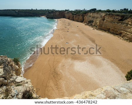 ARMACAO DE PERA, PORTUGAL -MAY 18: A view of coast Algarve near city Armacao de Pera in the south of the country, Portugal, 2016 - stock photo
