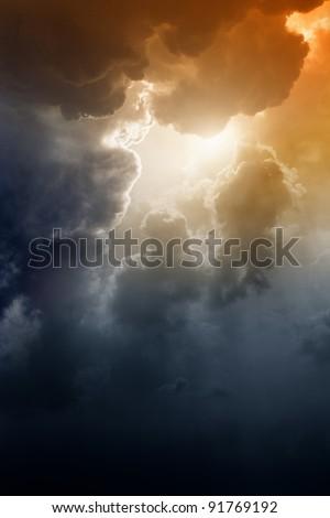 Armageddon background - dramatic dark sky, bright sun. Mayan apocalypse 2012, Nostradamus armageddon 2012, armageddon bible - stock photo