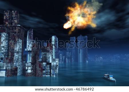 Armageddon in New York - stock photo