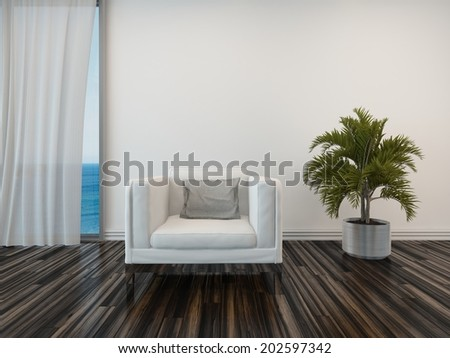 Armchair and potted palm on a wooden parquet floor alongside a curtained window with a view of the sea in a living room interior - stock photo