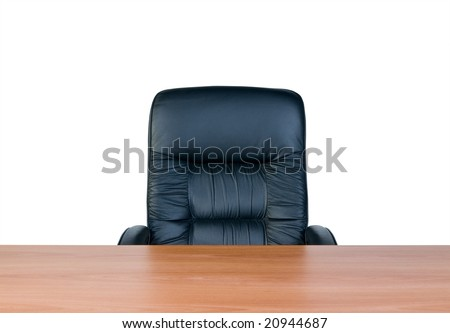 Armchair and table, isolated on white background - stock photo