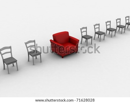 Armchair between chairs- idea of special place