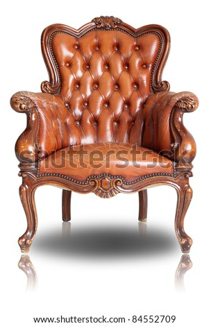 Armchair brown genuine leather classical style sofa with clipping path - stock photo