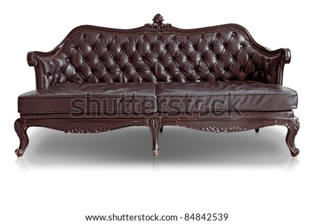 Armchair brown genuine leather classical style sofa with clipping path
