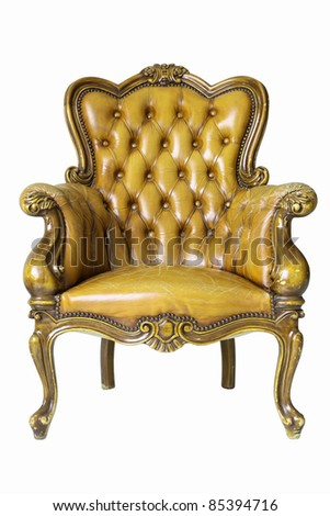 Armchair gold genuine leather classical style sofa with clipping path - stock photo