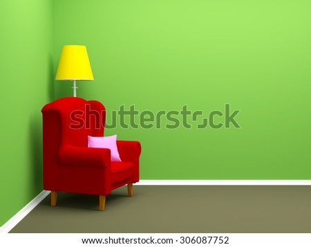 armchair in corner of empty room. 3d illustration.