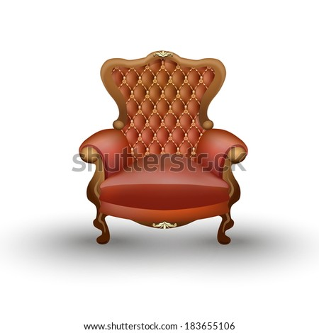 armchair isolated on white background, antique furniture
