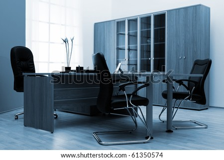 Armchair of director on a background of a wall - stock photo
