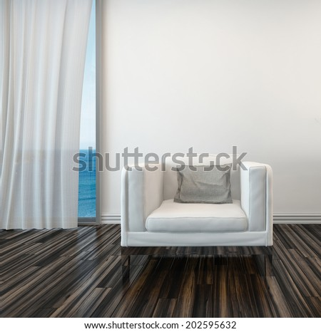 Armchair on a wooden parquet floor alongside a curtained window with a view of the sea in a living room interior - stock photo