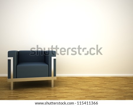 Armchair on parquet floor - stock photo