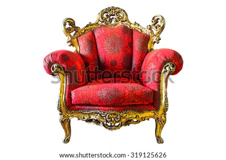 armchair red genuine leather classical style sofa isolated on white background - stock photo