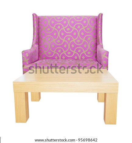 Armchair with table isolated on white - stock photo