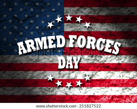 armed forces day greeting card american flag grunge background - stock photo